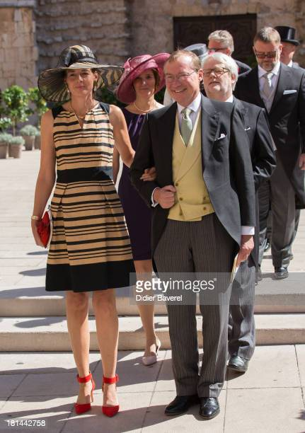 Prince Jean of Luxembourg and Countess Diane of Nassau attend the religious wedding of Prince Felix of Luxembourg and Claire Lademacher at Basilique...