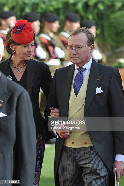 Prince Jean of Luxembourg and Countess Diane of Nassau emerge from the Cathedral following the wedding ceremony of Prince Guillaume Of Luxembourg and...