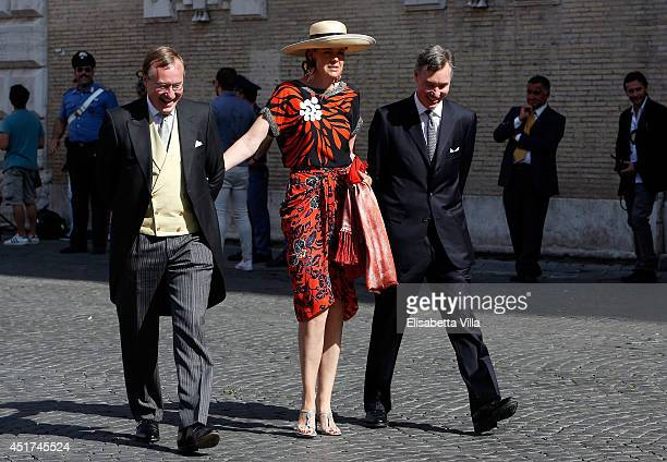 Prince Jean of Luxembourg Countess Diane de Nassau and Prince Guillaume of Luxembourg attend the wedding of Prince Amedeo Of Belgium and Elisabetta...