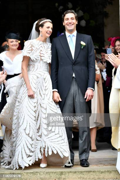 Prince JeanChristophe Napoleon and his wife Olympia Von ArcoZinneberg come out of the Cathedral at the end of their Wedding at Les Invalides on...