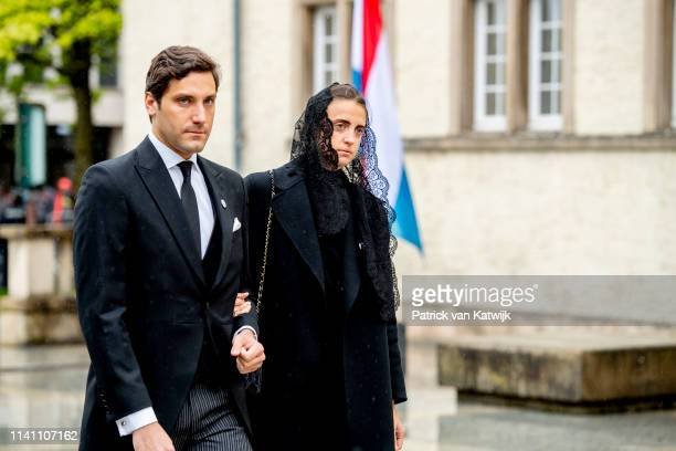Prince JeanChristophe Napoleon and Olympia von ArcoZinneberg attend the funeral of Grand Duke Jean of Luxembourg on May 04 2019 in Luxembourg...