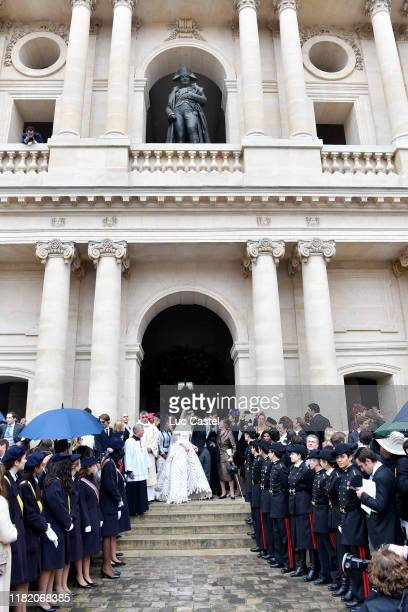 Prince JeanChristophe Napoleon his wife Olympia Von ArcoZinneberg and Princess Napoleon Alix de Foresta attend the Wedding of Prince JeanChristophe...