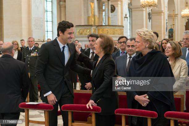 Prince JeanChristophe Napoleon Princesse Napoleon Beatrice de BourbonSiciles attend the mass given in memory of the emperor Napoleon at Les Invalides...