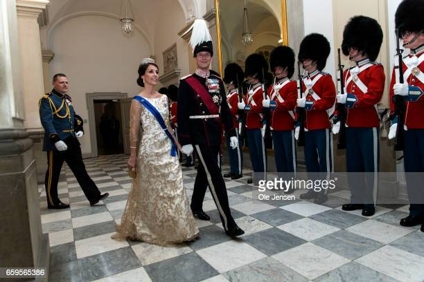Prince Joachim and Princess Marie during arrival to the to the State Dinner on the occasion of the visiting Belgian King and Queen at Christiansborg...
