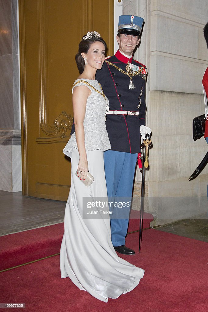 Prince Joachim and Princess Marie of Denmark arrive at the Traditional New Year's Banquet hosted by Queen Margrethe of Denmark, at, Amalienborg Palace, on January 1, 2014 in Copenhagen, Denmark.