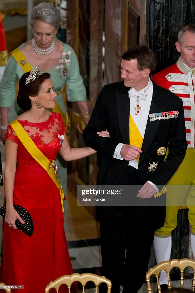 Prince Joachim, and Princess Marie of Denmark attend a State Banquet at Fredensborg Palace on the first day of a State visit of the President of The United Mexican States, President Enrique Pena Nieto, and his wife Angelica Rivera to Denmark on April 13, 2016 in Fredensborg, Denmark.