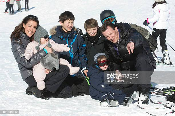 Prince Joachim and Princess Marie of Denmark pose with their children Princess Athena and Prince Henrik and Prince Joachim's two sons Prince Nikolai...