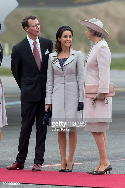 Prince Joachim and Princess Marie of Denmark with Princess Benedicte of Denmark at Copenhagen Airport for the arrival of The President and his wife...