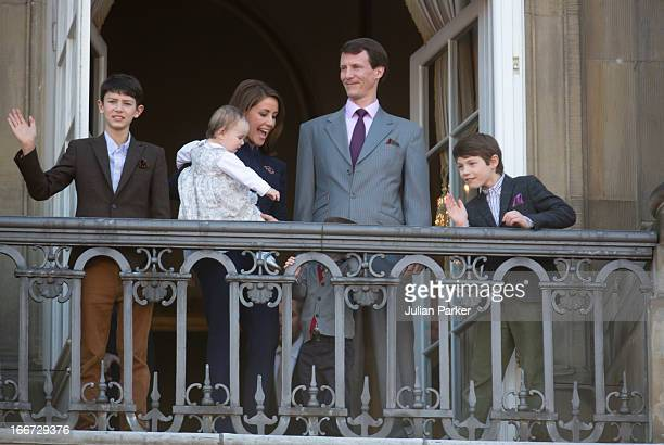 Prince Joachim and Princess Marie of Denmark with their children Princess Athena and Prince Henrik and Prince Joachims sons Prince Felix and Prince...