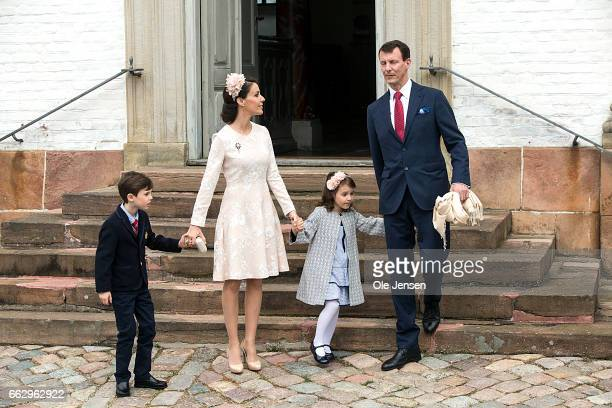 Prince Joachim and Princess Marie together with Princess Athena and Prince Henrik af their son Prince Felix' confirmation at Fredensborg Palace...