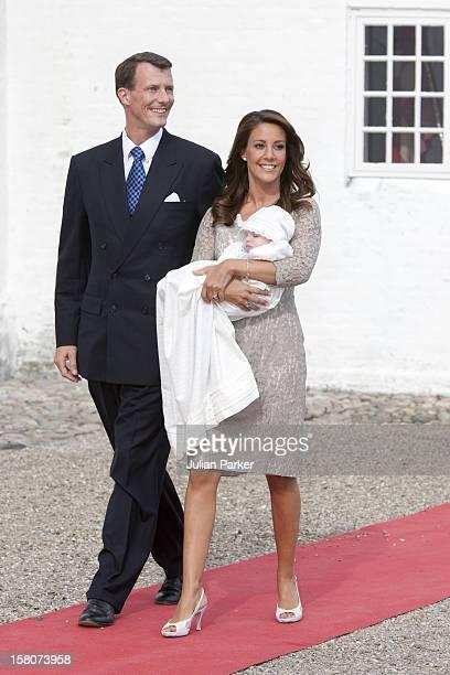 Prince Joachim And Princess Marie With Prince Henrik Carl Joachim Alain Attend His Christening At Mogeltonder Church In Mogeltonder, Denmark.