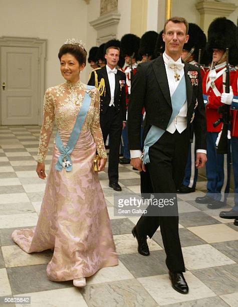 Prince Joachim brother of Crown Prince Frederik and his wife Princess Alexandra of Denmark attend a celebratory dinner at Christiansborg Palace on...