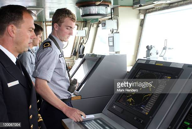 Prince Joachim of Belgium inspects the deck on the ship GODETIA during his Promotion Day to the rank of officer of the Belgian Navy on July 29 2011...