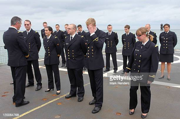 Prince Joachim of Belgium is congratulated on the ship GODETIA on his Promotion Day to the rank of officer of the Belgian Navy on July 29 2011 in...