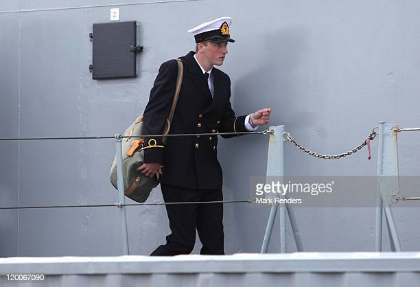 Prince Joachim of Belgium leaves the ship GODETIA on his Promotion Day to the rank of Officer of the Belgian Navy on July 29 2011 in Brugge Belgium