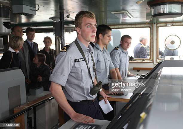 Prince Joachim of Belgium looks on on the ship GODETIA during his Promotion Day to the rank of officer of the Belgian Navy on July 29 2011 in Brugge...