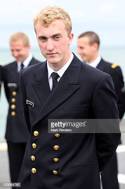 Prince Joachim of Belgium looks on on the ship GODETIA on his Promotion Day to the rank of officer of the Belgian Navy on July 29 2011 in Brugge...