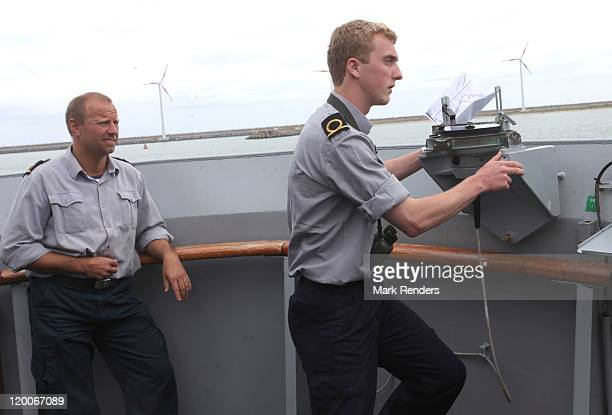 Prince Joachim of Belgium pictured at the ship GODETIA on Promotion Day of Prince Joachim of Belgium to the rank of Officer of the Belgian Navy on...