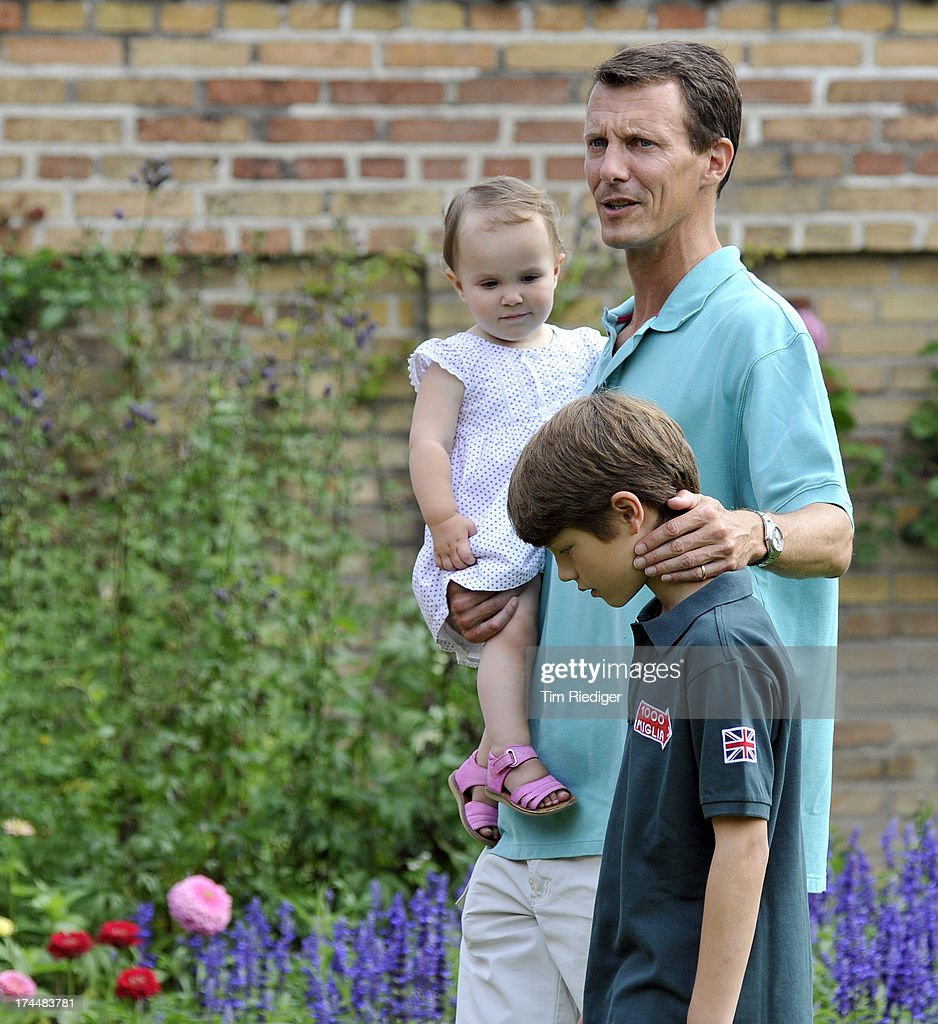 Prince Joachim of Denmark and his children Princess Athena and Prince Felix of Denmark attend the annual Summer photocall for the Royal Danish family at Grasten Castle on July 26, 2013 in Grasten, Denmark.