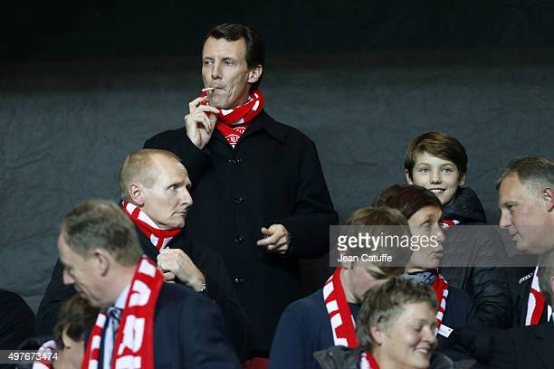 Prince Joachim of Denmark and his son Prince Felix of Denmark attend the UEFA EURO 2016 qualifier play-off second leg match between Denmark and...