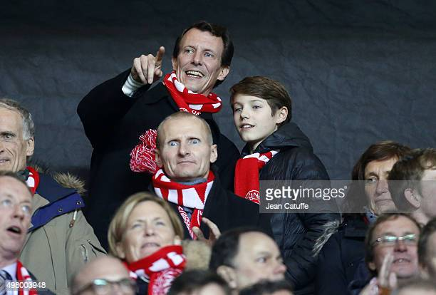 Prince Joachim of Denmark and his son Prince Felix of Denmark attend the UEFA EURO 2016 qualifier playoff second leg match between Denmark and Sweden...