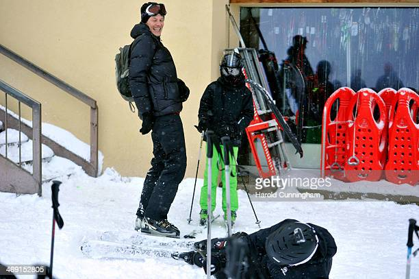 Prince Joachim of Denmark and Prince Felix of Denmark laugh as Prince Nikolai of Denmark falls whilst on skiing holiday in Villars on February 13...