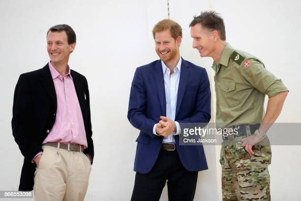 Prince Joachim of Denmark and Prince Harry are seen at the Danish Veteran Centre on October 26 2017 in Copenhagen Denmark
