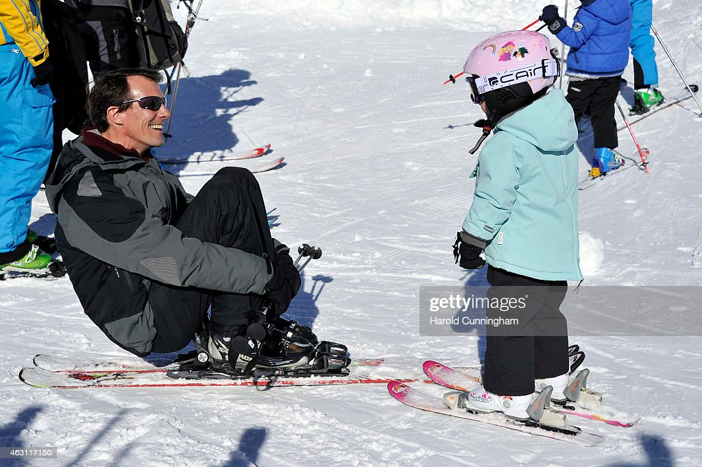 Prince Joachim of Denmark and Princess Athena of Denmark attend the Danish Royal family annual skiing photocall whilst on holiday on February 10, 2015 in Col-de-Bretaye near Villars-sur-Ollon, Switzerland.