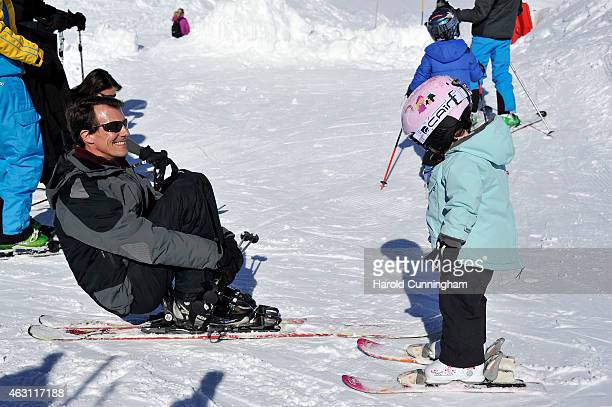 Prince Joachim of Denmark and Princess Athena of Denmark attend the Danish Royal family annual skiing photocall whilst on holiday on February 10 2015...