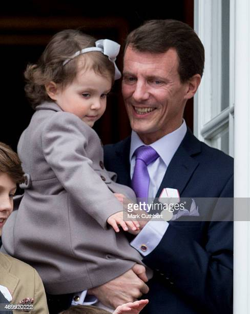 Prince Joachim of Denmark and Princess Athena of Denmark on the balcony at Amalienborg Palace during festivities for the 75th birthday of Queen...