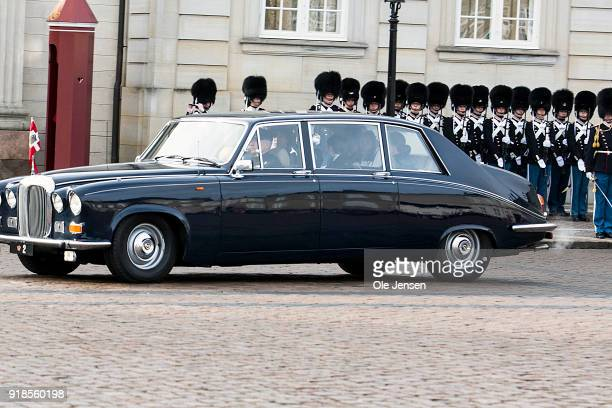 Prince Joachim of Denmark and Princess Marie of Denmark arrive at Amalienborg as the third car behind the hearse with the coffin of deceased Prince...