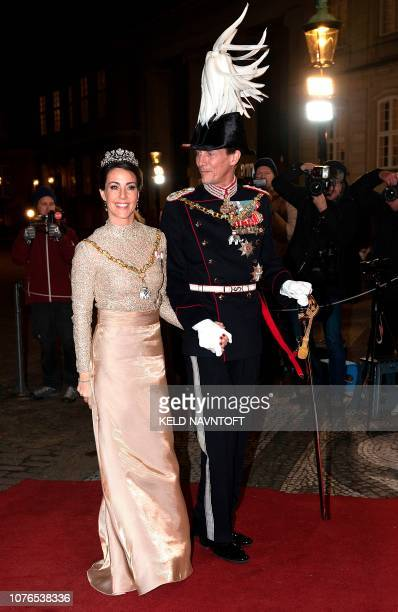 Prince Joachim of Denmark and Princess Marie of Denmark arrive at Her Majesty Queen Margrethe's traditional New Year's Banquet for government...