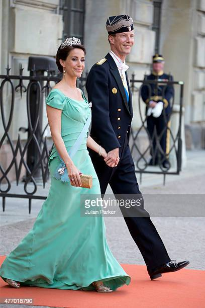 Prince Joachim of Denmark and Princess Marie of Denmark arrive at The Royal Chapel at The Royal Palace in Stockholm for The Wedding of Prince Carl...