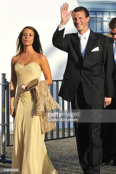 Prince Joachim of Denmark and Princess Marie of Denmark arrive to attend the wedding of Tatiana Blatnik with former Prince Nikolaos of Greece at the...