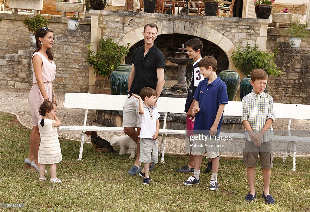 Prince Joachim of Denmark and Princess Marie of Denmark with Prince Felix of Denmark, Prince Henrik of Denmark, Prince Nikolai of Denmark and Princess Athena of Denmark attend a photocall at Chateau de Cayx on June 11, 2014 in Luzech, France.
