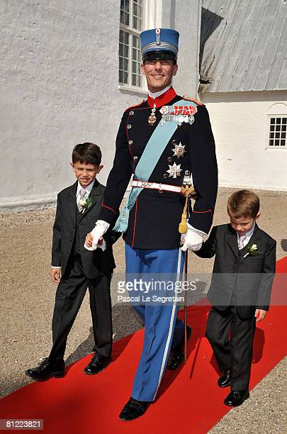 Prince Joachim of Denmark arrives with his sons 5-year-old Felix and 8-year-old Nikolai before his wedding to Marie Cavallier on May 24, 2008 at the...