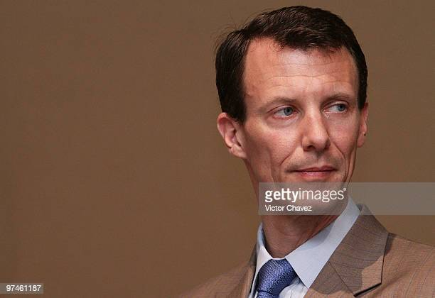 Prince Joachim of Denmark attends a press conference during the The Wild Swans exhibition on March 4 2010 in Mexico City Mexico The Royals are in a...