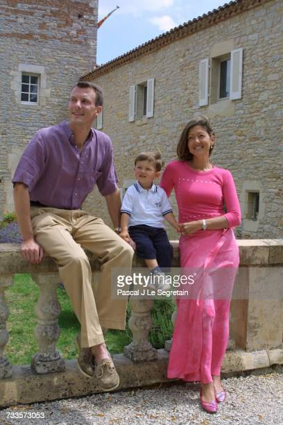 Prince Joachim of Denmark his son Nikolai and his wife Alexandra Manley on holiday at the 'Chateau de Caix'