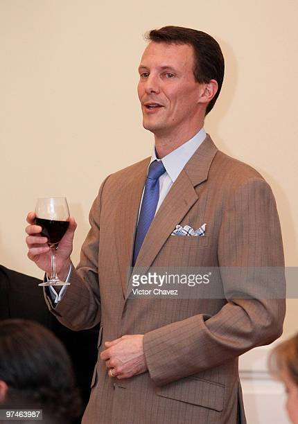 Prince Joachim of Denmark is making a toast during the MexicoDenmark Water Seminar Hydric infrastructure investment opportunities at Four Seasons...
