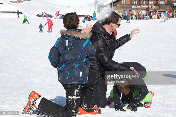 Prince Joachim of Denmark plays with his two son's Prince Nikolai and Prince Felix during an annual family skiing holiday on February 13 2013 in...