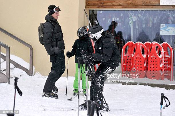 Prince Joachim of Denmark, Prince Felix of Denmark and Prince Nikolai of Denmark meet the press, whilst on skiing holiday in Villars on February 13,...