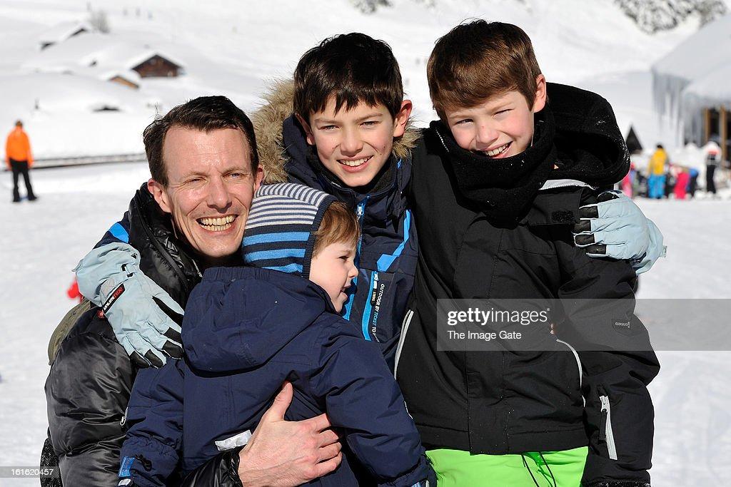 Prince Joachim of Denmark, Prince Henrik of Denmark, Prince Nikolai of Denmark and Prince Felix of Denmark meet the press, whilst on skiing holiday in Villars on February 13, 2013 in Villars-sur-Ollon, Switzerland.