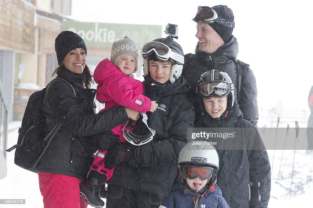 Prince Joachim of Denmark, Princess Marie of Denmark, Princess Athena, Prince Nikolai, Prince Felix and Prince Henrik pose during their annual winter family holiday photocall on February 13, 2014 in Villars-sur-Ollon, Switzerland.