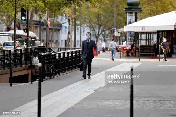Prince Joachim of Denmark walks toward the Danish Embassy in France for his first working day as Denmarks military attache to France in Paris on...