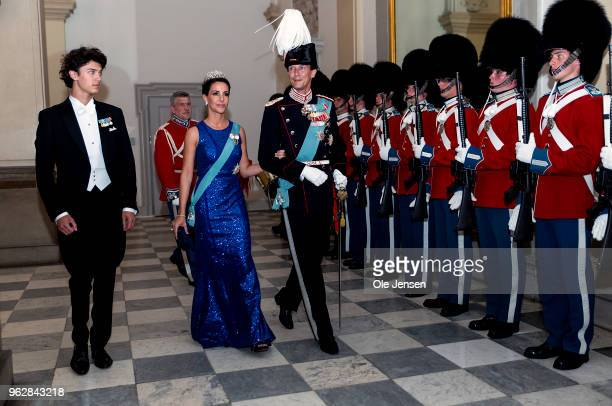 Prince joachim of Denmark with wife Princess Marie and oldest son Prince Nikolai arrive to the gala banquet on the occasion of The Crown Prince's...