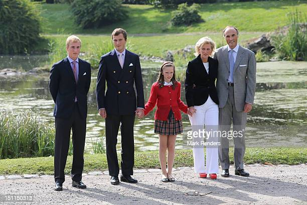 Prince Joachim Prince Amadeo Princess Laetitia Maria Princess Astrid and Prince Lorentz of Belgium attend the Belgian Royal Family official photocall...