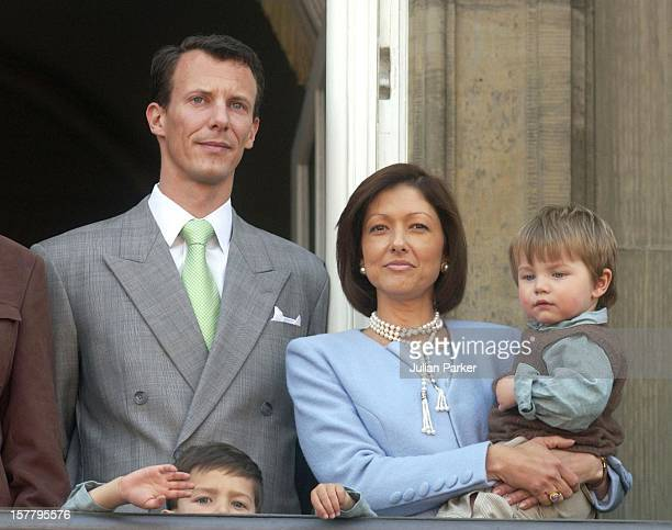 Prince Joachim Princess Alexandra With Children Felix Nikolai Appear On The Balcony Of The Amalienborg Palace In Copenhagen To Celebrate The Queen Of...