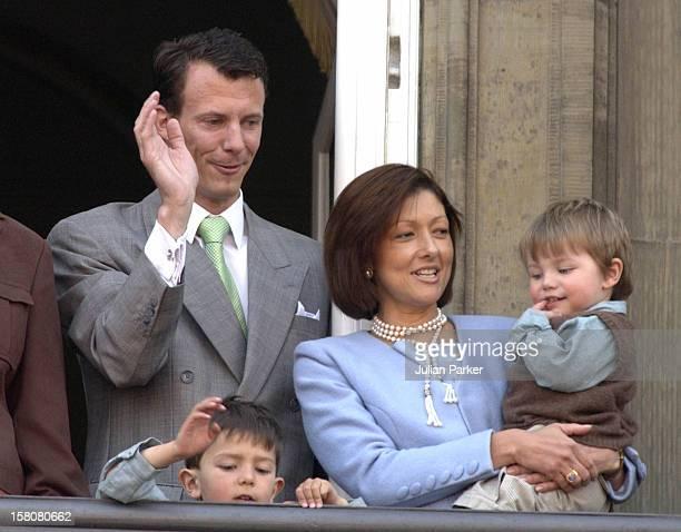 Prince Joachim & Princess Alexandra With Children Felix & Nikolai Appear On The Balcony Of The Amalienborg Palace In Copenhagen To Celebrate The...