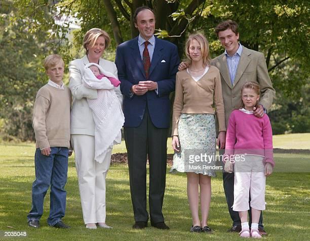 Prince Joachim, Princess Astrid holding little Princess Laetitia Maria, Prince Lorenz, Princess Maria Laura, Prince Amadeo and Princess Luisa Maria...