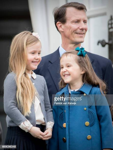 Prince Joachim Princess Josephine and Princess Athena of Denmark attend the 77th birthday celebrations of Danish Queen Margrethe at Marselisborg...